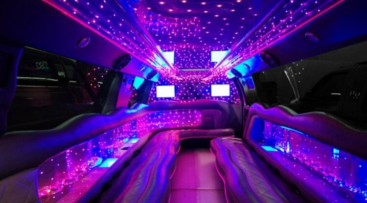 Blue Streak party bus inside
